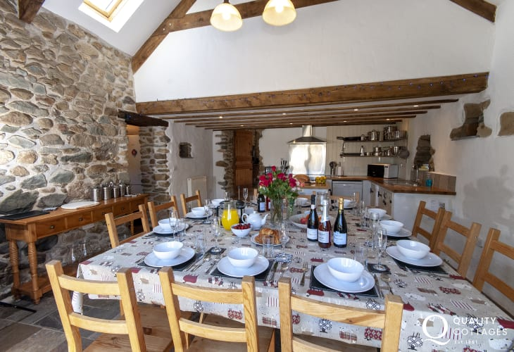 Luxury barn conversion near Solva - kitchen/diner with french doors opening to the gardens