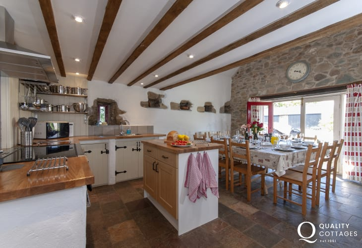 North Pembrokeshire stone barn conversion - farmhouse style kitchen/diner with seating for 12 guest