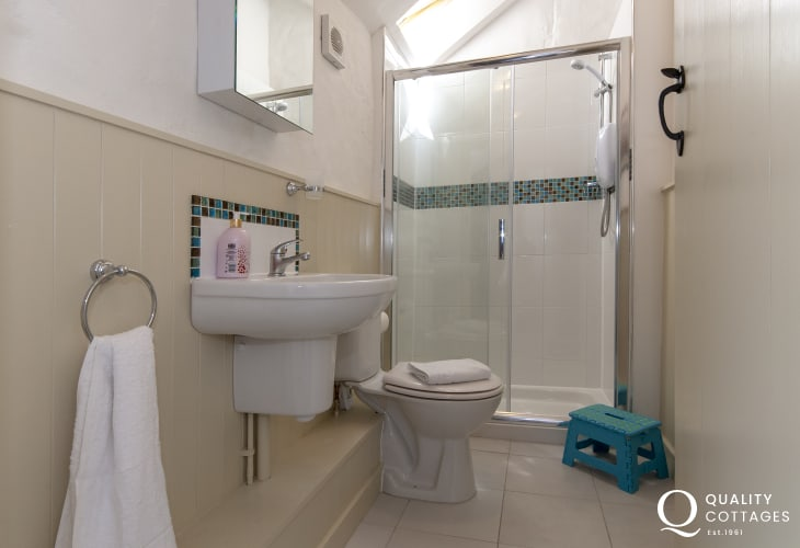 Newgale holiday barn conversion - family shower room with large walk in shower