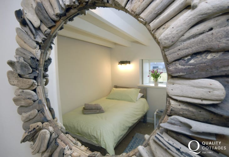 Driftwood mirror at cosy Pembrokeshire cottage