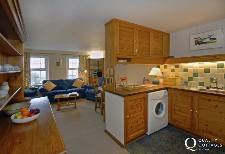 St Davids holiday apartment - open plan living area