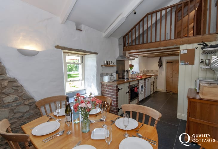 Family holiday home near Solva - dinning area with 'minstrel's' gallery