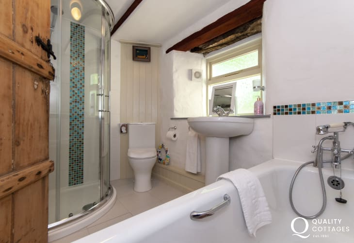 Newgale holiday farmhouse - ground floor family bathroom with separate shower