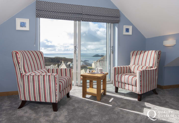 Holiday home Solva - second floor king size bedroom with sea views over St Brides Bay