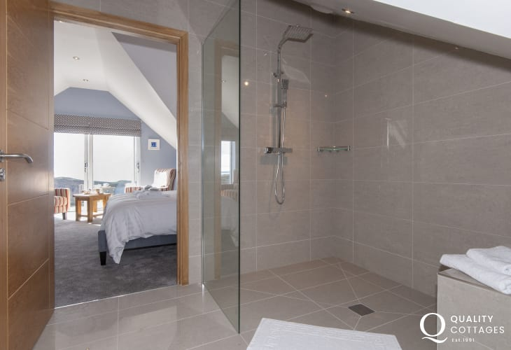 Second floor luxury bathroom suite with separate spacious walk in shower
