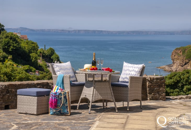 Seaside House, Little Haven - terrace with the perfect spot for a glass of Prosecco