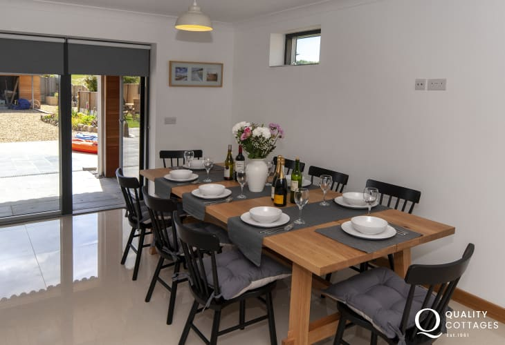 Newport, Pembs - modern house with open plan kitchen/diner with bi-fold doors to the garden
