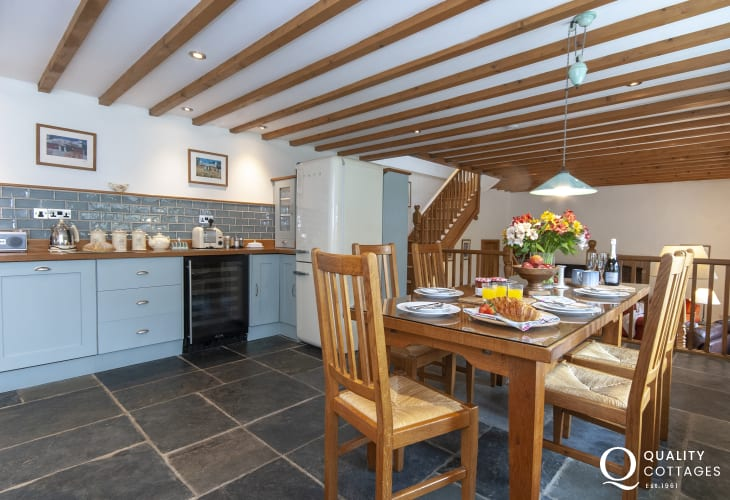 Abercastle restored holiday cottage - kitchen/dining room with slate floor