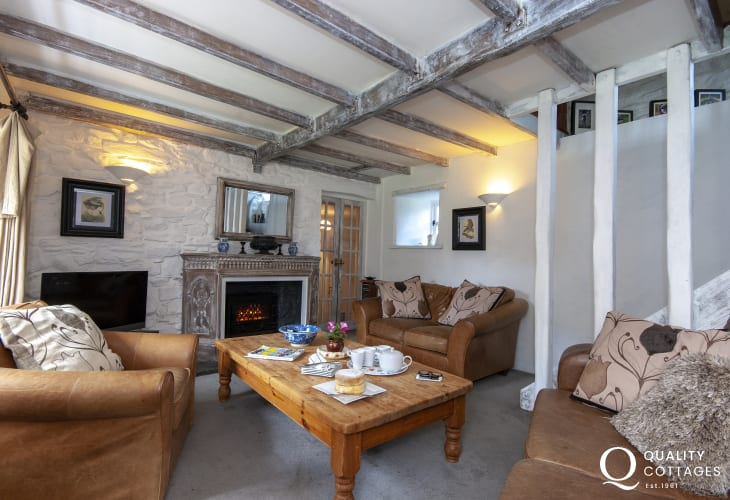 Aberbach holiday cottage - living room with electric effect wood burning stove