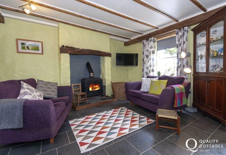 Newgale Sands coastal holiday cottage - living room with inglenook fireplace and large log burner