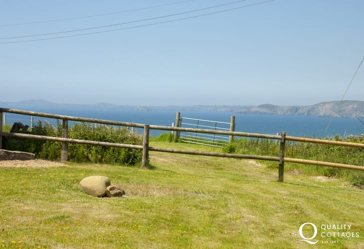 Enjoy sea views over St Brides Bay from the gardens
