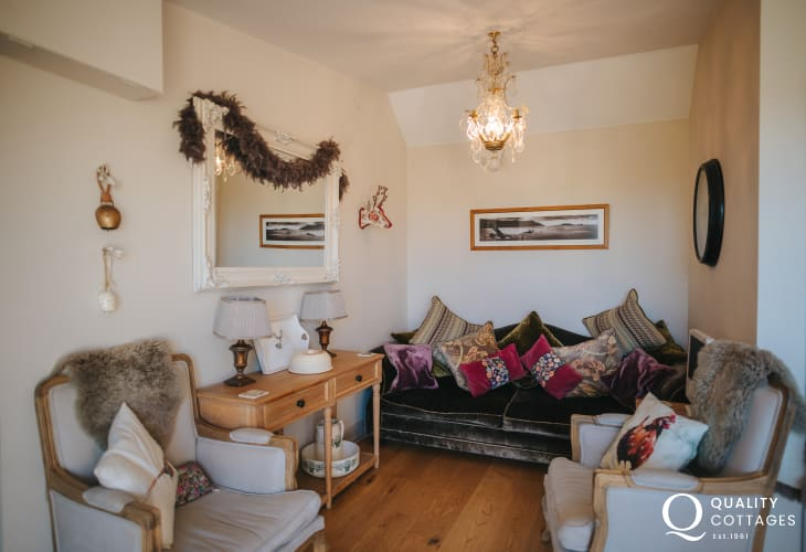 Sitting room luxury velvet sofa and occasional chairs