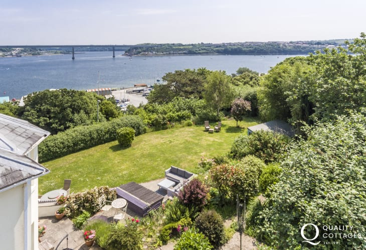 Aerial view of garden with sea  views