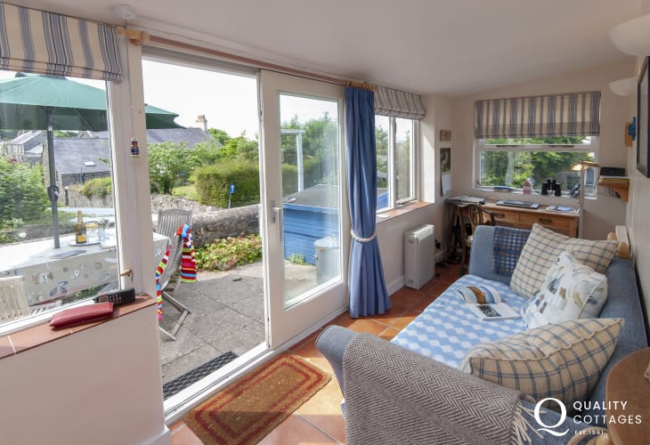 Holiday home Newport Pembrokeshire - study/sitting room with patio doors to the terrace