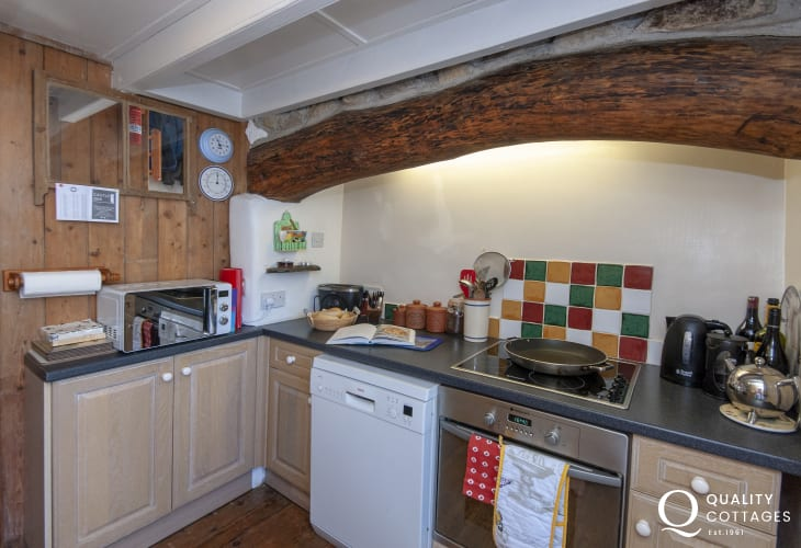 Self-catering Newport, Pembrokeshire - fully fitted kitchen with feature inglenook