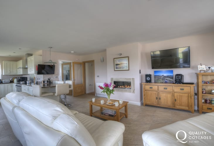 Luxury pet friendly holiday cottage - modern open plan lounge area with TV and leather sofas.