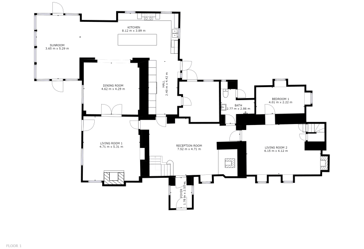 Luxury holiday cottage in Newport, Pembrokeshire - Ground floor floor plan.