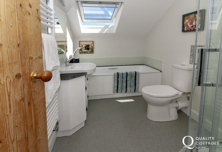 St Davids holiday home - family bathroom with separate shower
