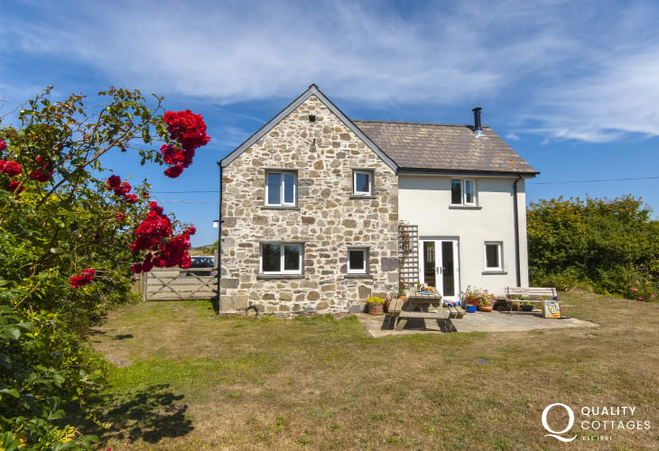 Restored Welsh cottage on the St Davids Peninsula above Whitesands Bay with enclosed gardens