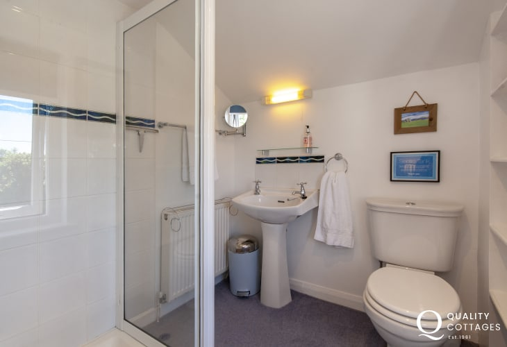 Abercastle holiday cottage - master en-suite shower
