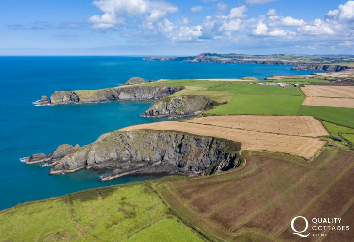 Aerial View of coast and sea near Trefin