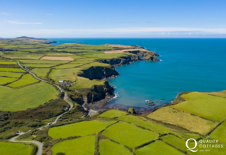 Aerial View of the bay at Trefin