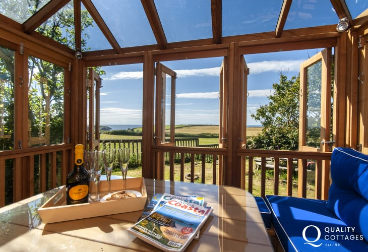 Enjoy panoramic views to the Pembrokeshire Coast Path from the summer house
