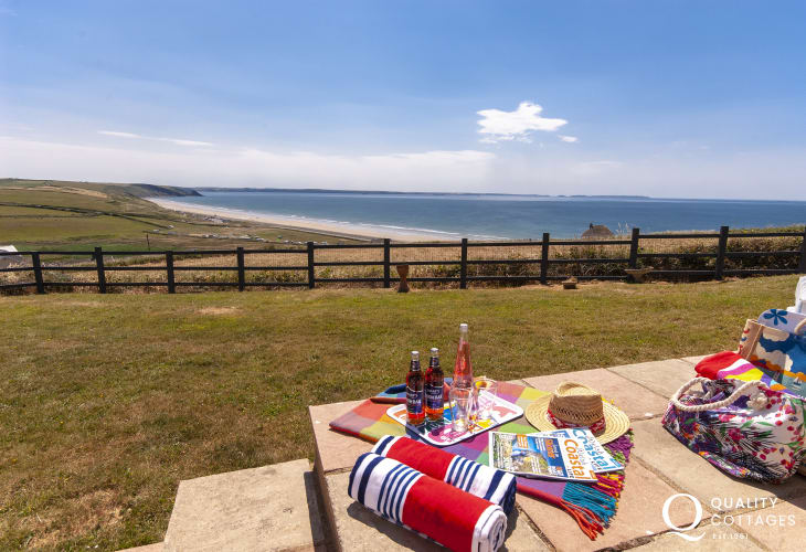 Newgale Beach holiday home - terrace with panoramic sea views