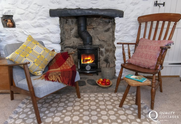 Lower House. Treffynnon -  cosy living room with log burner