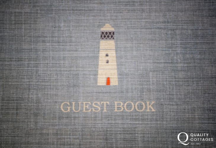 Guest Book at 'LIghthouse Keep' holiday cottage on St Annes Head, Pembrokeshire.