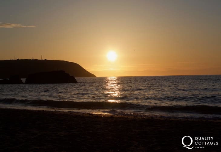 Tresaith Beach enjoys beautiful sunsets