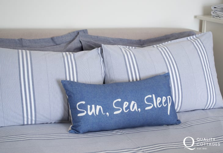 Double bed pillows sun sea and sleep