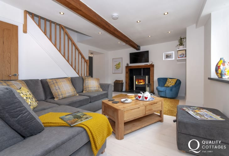 Solva  holiday Cottage - sitting room with Wifi, T.V. and wood burning stove