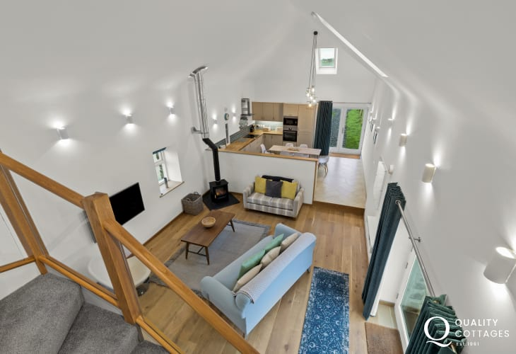 Abermawr Beach luxury barn conversion with gallery landing