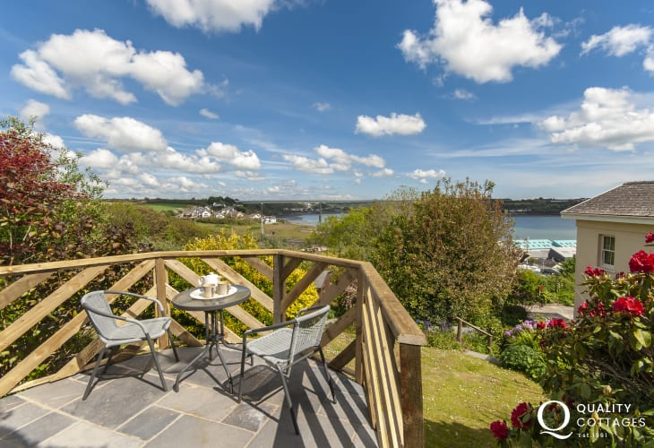Enjoy panoramic views over the Haven Waterway from the gardens top terrace
