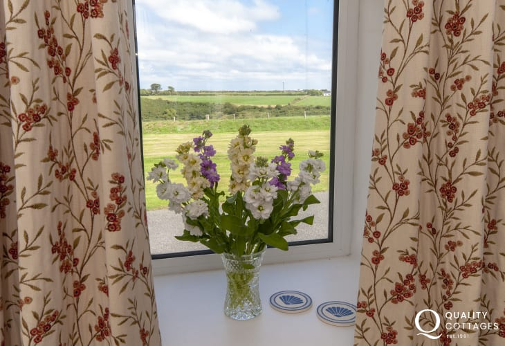 Solva holiday home - countryside views from the master bedroom
