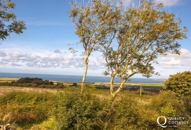 Scenic sea views from the garden of Belle Vue holiday cottage, near, Porthgain on the St. David's Peninsula