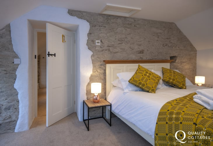 Holiday cottage on the St. David's Peninsula - double bedroom with exposed stone walls