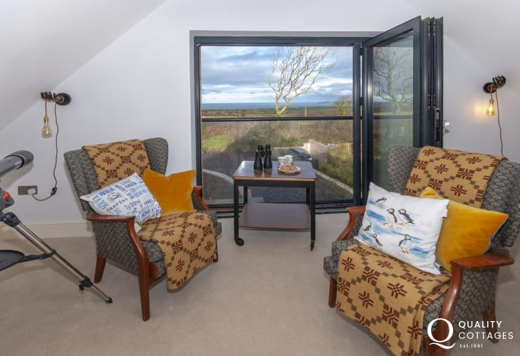 Pembrokeshire coastal cottage - quiet reading room with 'Juliet' balcony and sea views