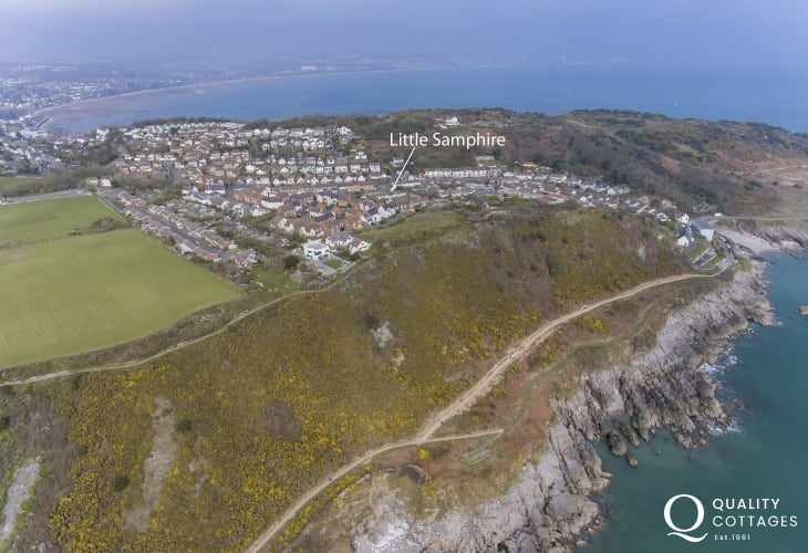 Aerial view of Little Samphire on Nr. Mumbles, Gower Peninsula