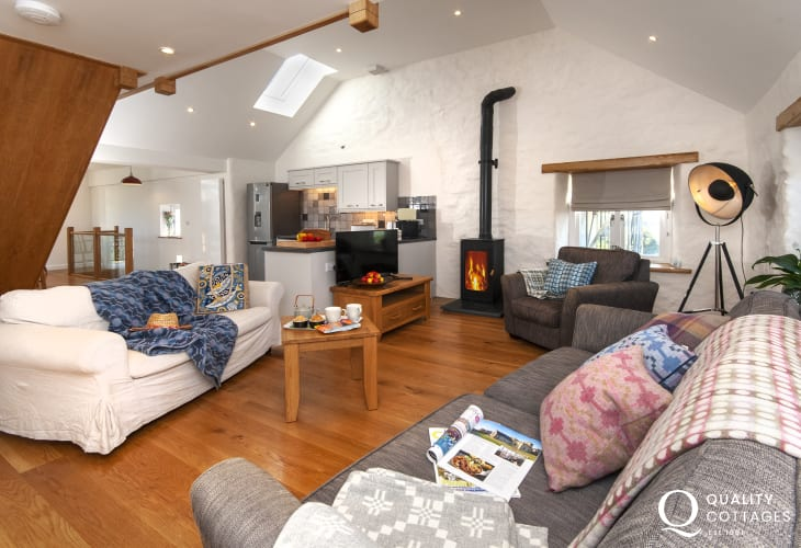 Porthgain holiday accommodation with spacious open plan kitchen/living room