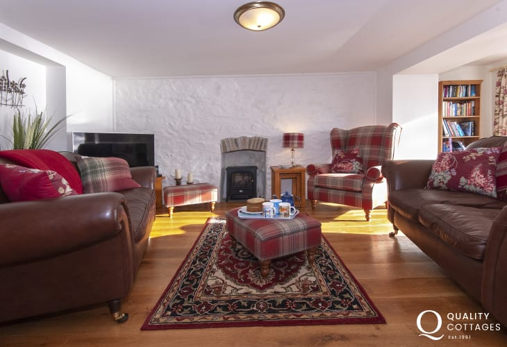 Pembrokeshire holiday cottage with river views - lounge with electric effect log burner