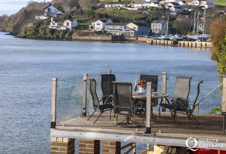 Riverside Pembrokeshire cottage - lower deck with stunning Waterway views
