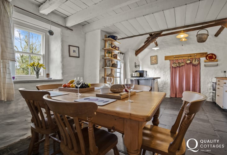 Close by Aberaeron for cottage holiday - kitchen dining area pine table, chairs