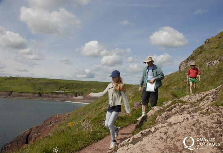 Walk from Saundersfoot to Manorbier on the Pembrokeshire Coast Path - fabulous cliff top views and wild life to enjoy.