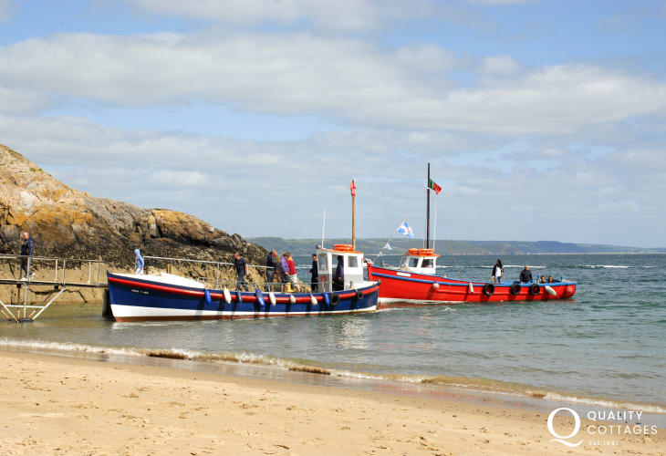 Catch a boat from Tenby harbour for a fishing trip, seal safari, cruise or to visit Caldey Island
