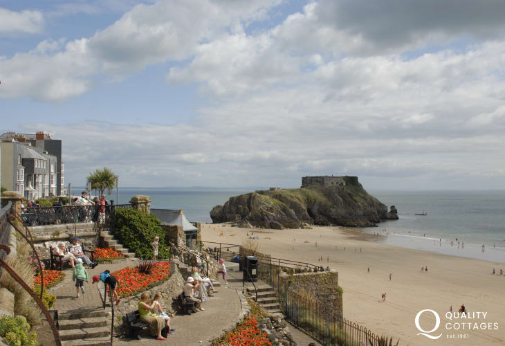 St Catherine's is a small island linked to Tenby by Castle beach at low tide