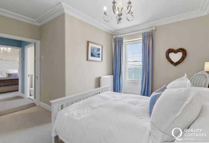 Aberaeron a colourful Georgian seaside town - Double Room  double bed, bedside tables, lamps, range of built in wardrobes