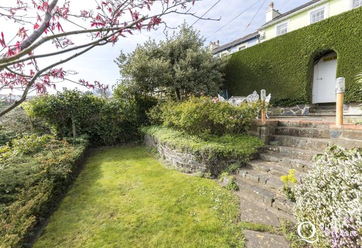 Aberaeron is nearby holiday cottage - Garden an extensive, enclosed, terraced rear garden