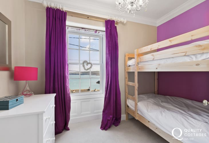 New Quay seaside holiday - Bunk Bed Room  bunk beds, chest, lamp, driftwood mirror, lovely sea views